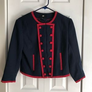 H&M Navy and Red Clasp Long Sleeve Blazer Jacket